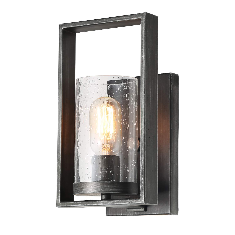Laluz 1 lights rustic bathroom vanity fixture with seeded glass metal frame
