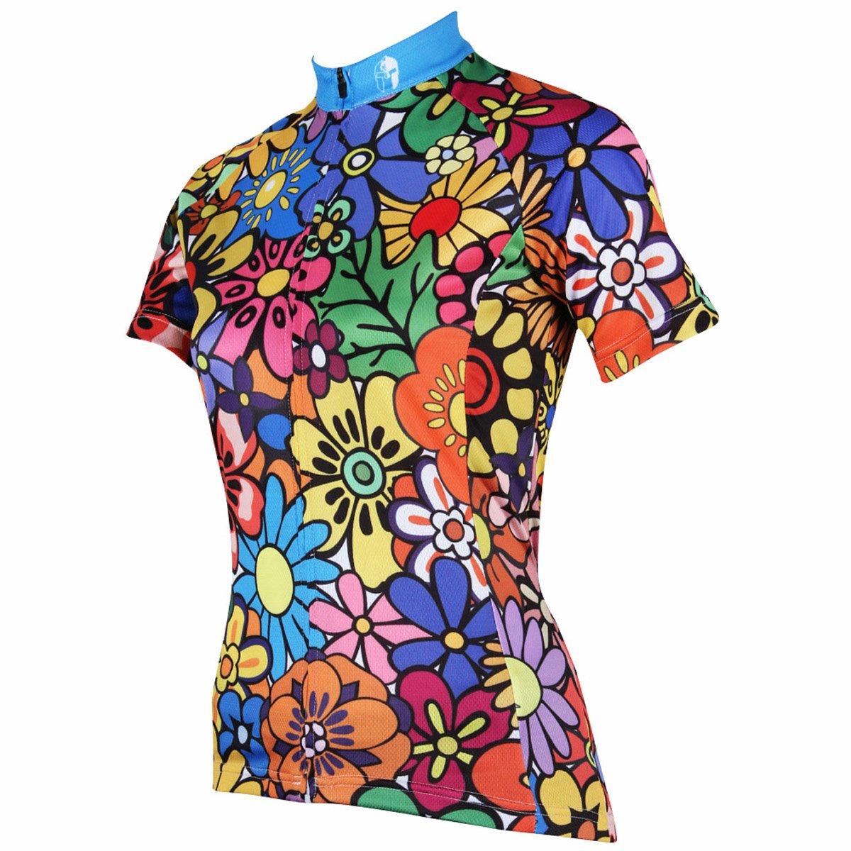 ILPALADINO Womens Cycling Jersey Short Sleeve Biking Shirts Colorful Flowers