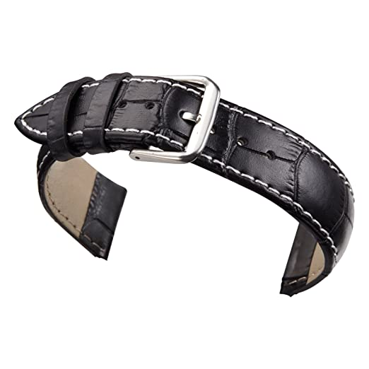 5be672a4c Image Unavailable. Image not available for. Color: 18mm Black Leather Watch  Strap Band Replacement Padded Alligator ...