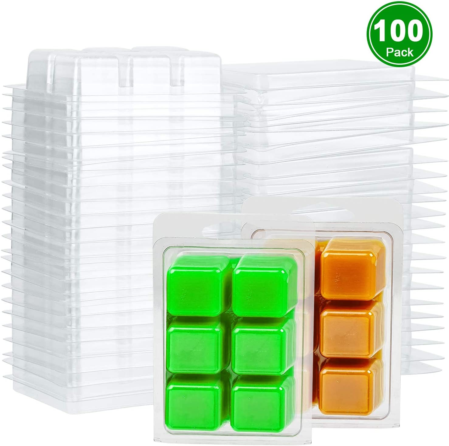 6 Cavity Clear Plastic Cube Tray for Candle-Making /& Soap Perkisboby 100 Packs Wax Melt Clamshells Molds Square