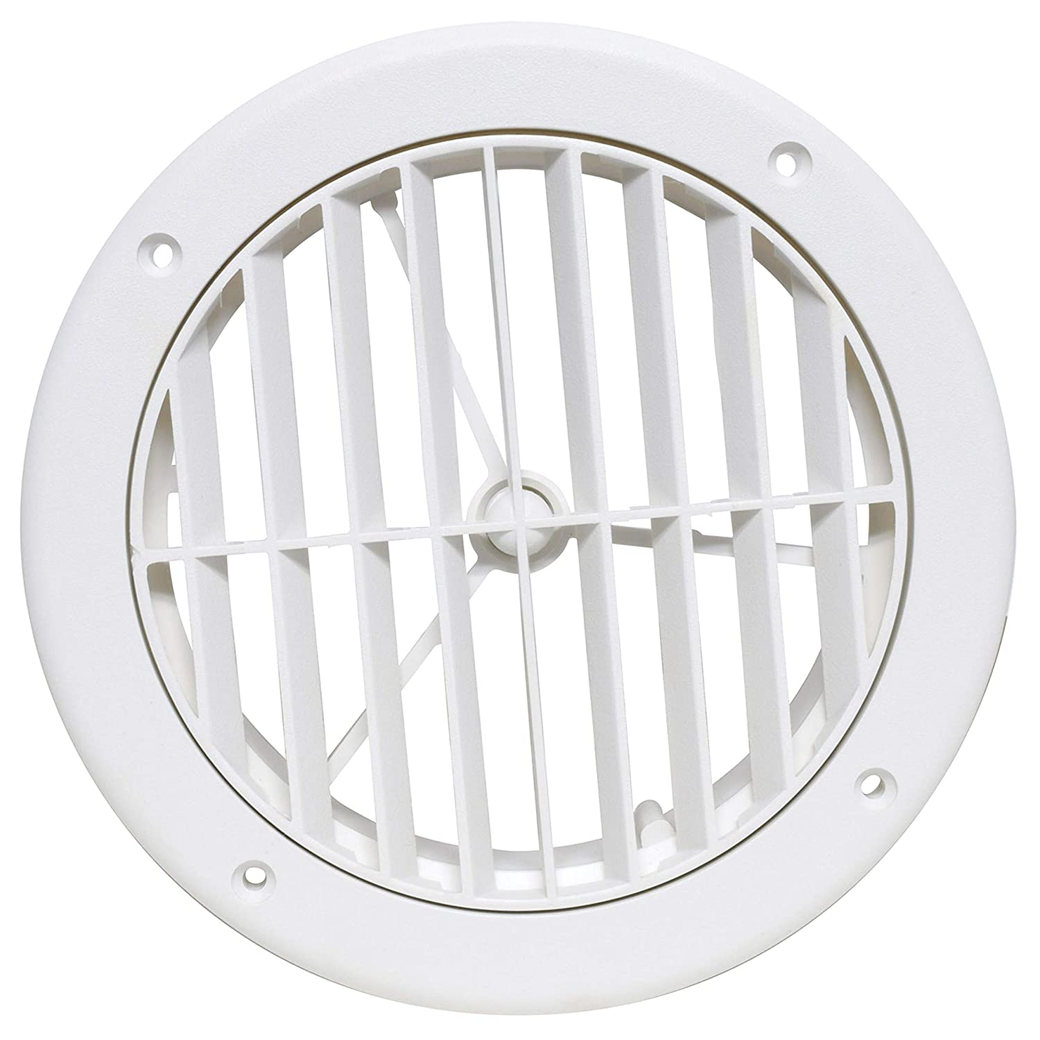 Valterra A10-3363VP White Rotating Heat and A/C Register (5' ID, 1-1/8' Collar Extension) 1-1/8 Collar Extension)