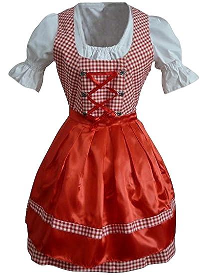 Di01rw Mini Dirndl, 3 pieza de vestir traje en rojo camisa de vestir blanca y delantal rojo, longitud de la falda 53-56 cm, Gr. 46