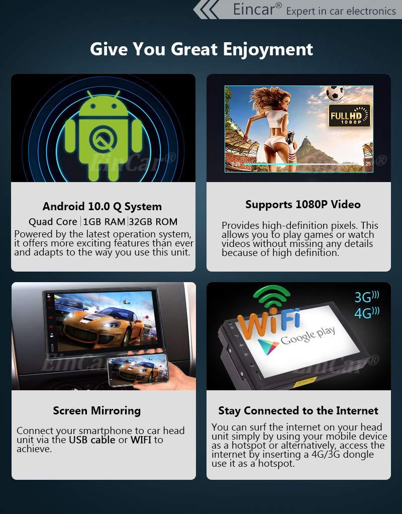 EinCar Stereo Coche de 7 Pulgadas Android 7.1 2GB 32GB Jefe ...