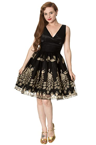 New Dancing Days Moonlight Escape Black Gold Prom Dress UK8-16 By Banned Apparel (