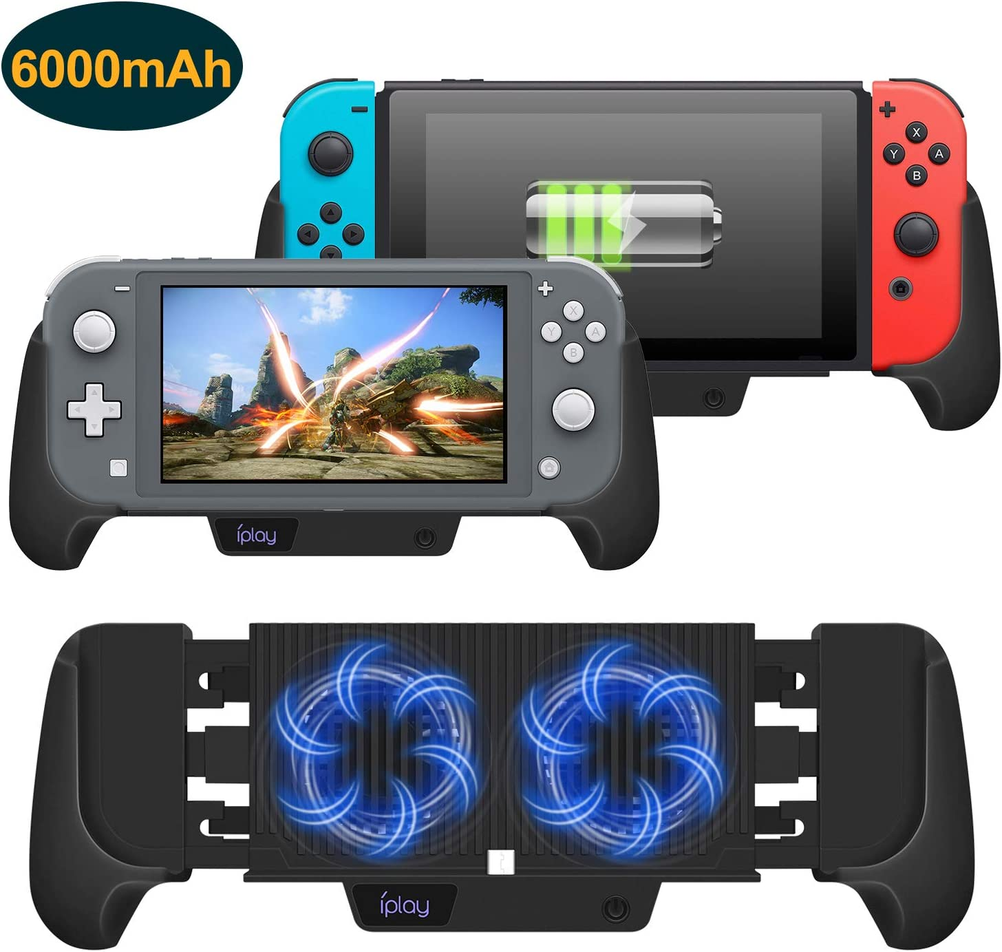 Cooling Charging Grip for Nintendo Switch & Switch Lite, 4 in 1 Accessories Works as Fan, Charger, Grip and Foldable Stand for Nintendo Switch Lite and Nintendo Switch (Black)