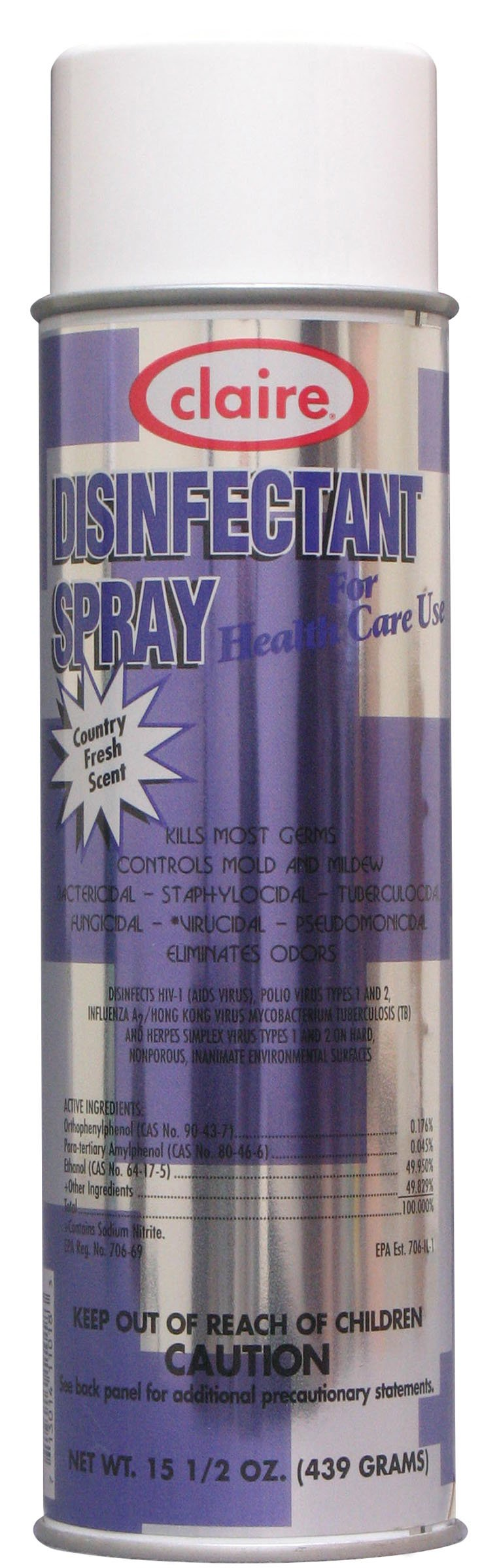 Claire C-018 15.5 Oz. Country Fresh Disinfectant Spray for Health Care Use Aerosol Can (Case of 12)