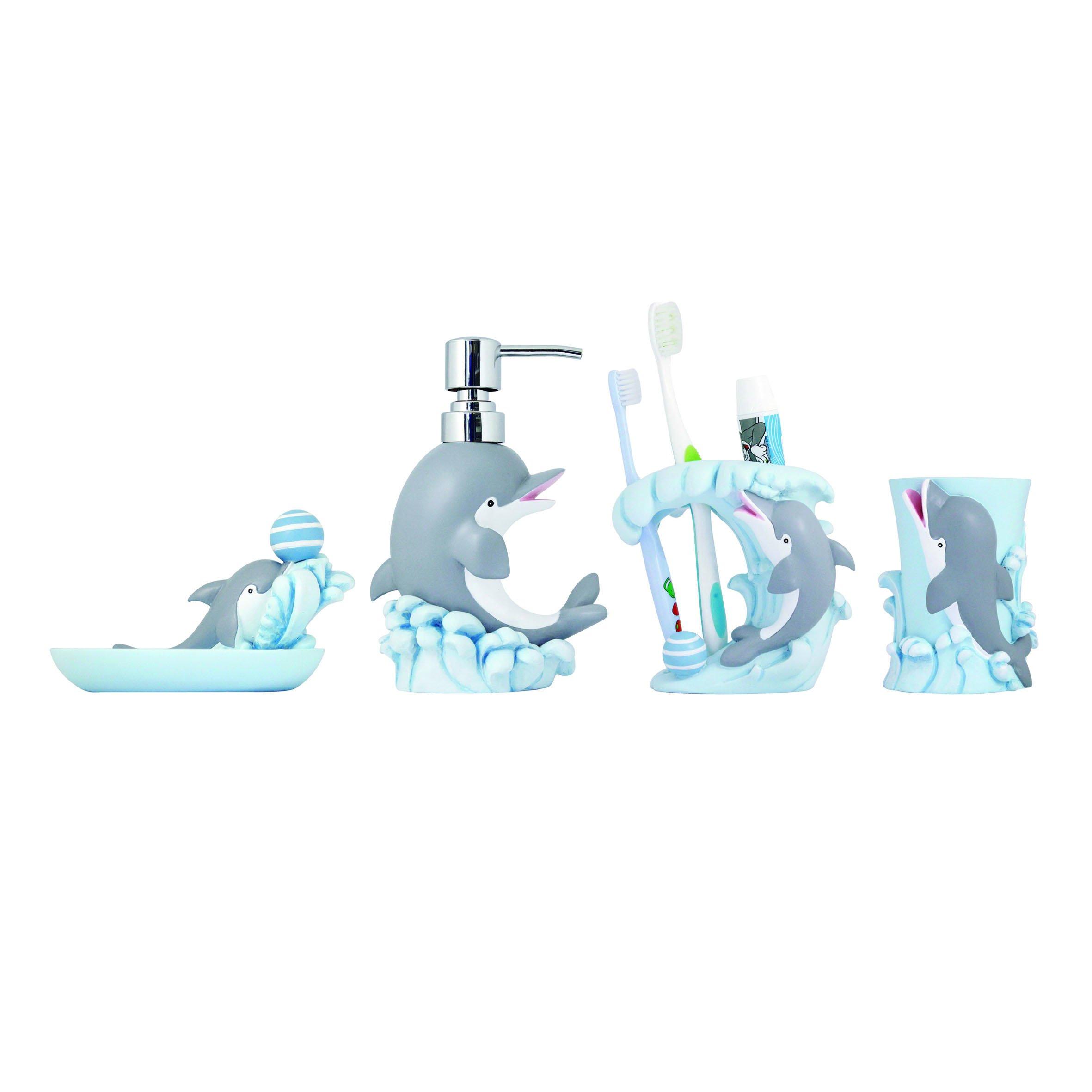 MODONA Four Piece KIDS Bathroom Accessories Set - Dolphin