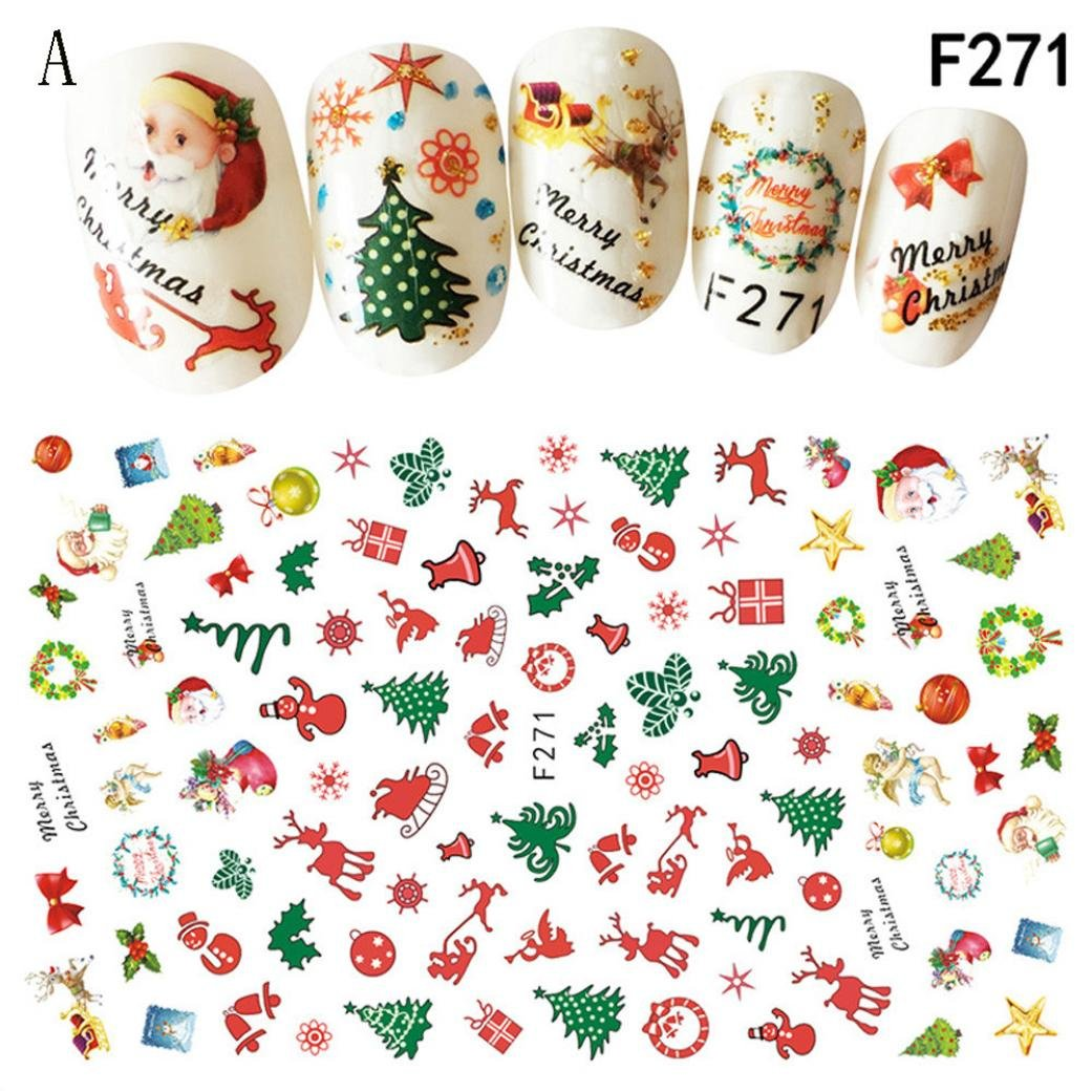 Stickers de nail art Hunpta - Motifs de Noël 3D, flocons et adorables bonshommes de neige