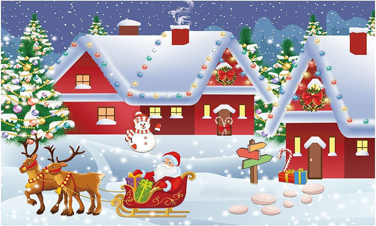 Funnytree Christmas Santa's Village Backdrop Photography Winter Merry Xmas Reindeer Wonderland Background Snowman Landspace Baby Kids Party Decor Portrait Cake Table Banner Photo Studio Props 5x3ft