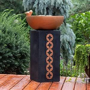 BS Column Solar Outdoor Bird Bath Fountain Pedestal Black Copper Stone Floor Fountain Water Bowl Patio Decor Backyard Stacked Solar Poolside Decoration & eBook by BADA Shop