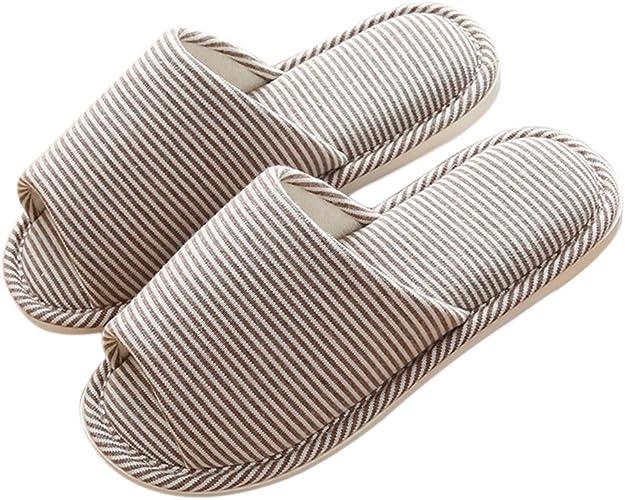 APIKA Coton et Lin Coton l/éger et l/éger /à Bout Ouvert Pantoufles pour Femmes