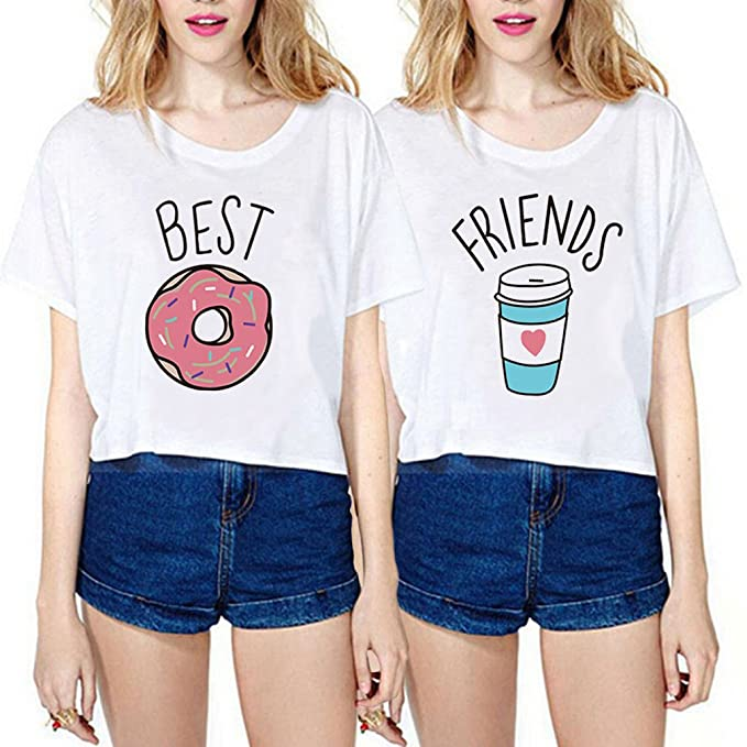 Best Friend Shirts Cotone Cartone Animato Coppia T Shirt Stampa