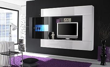 Primo 8 Nero Parete Attrezzata Soggiorno Moderna Porta Tv: Amazon ...