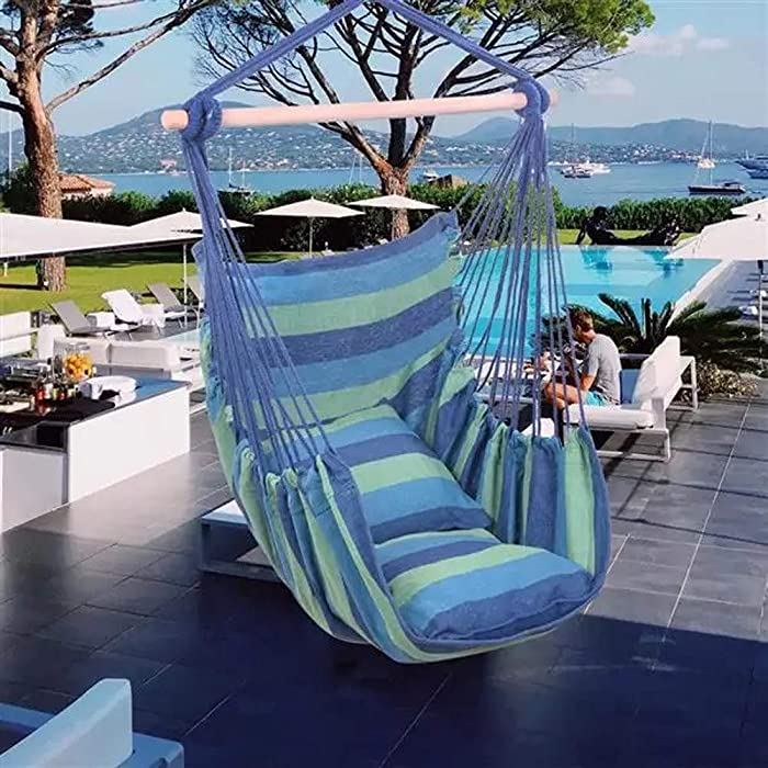 Porch Swinging Chair Hanging Chairs Outdoor Colorful Stripes Distinctive Cotton Canvas Hanging Rope Chair Hammock Indoor Bedroom Decor for Teen Girls (Color : Blue)