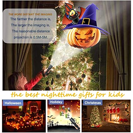 Kepeak Christmas Projector Flashlight, Displacement Dynamic Projection, 7 Slides Pattern Slides Decoration Light for Home Party, Birthday, Easter Gift .
