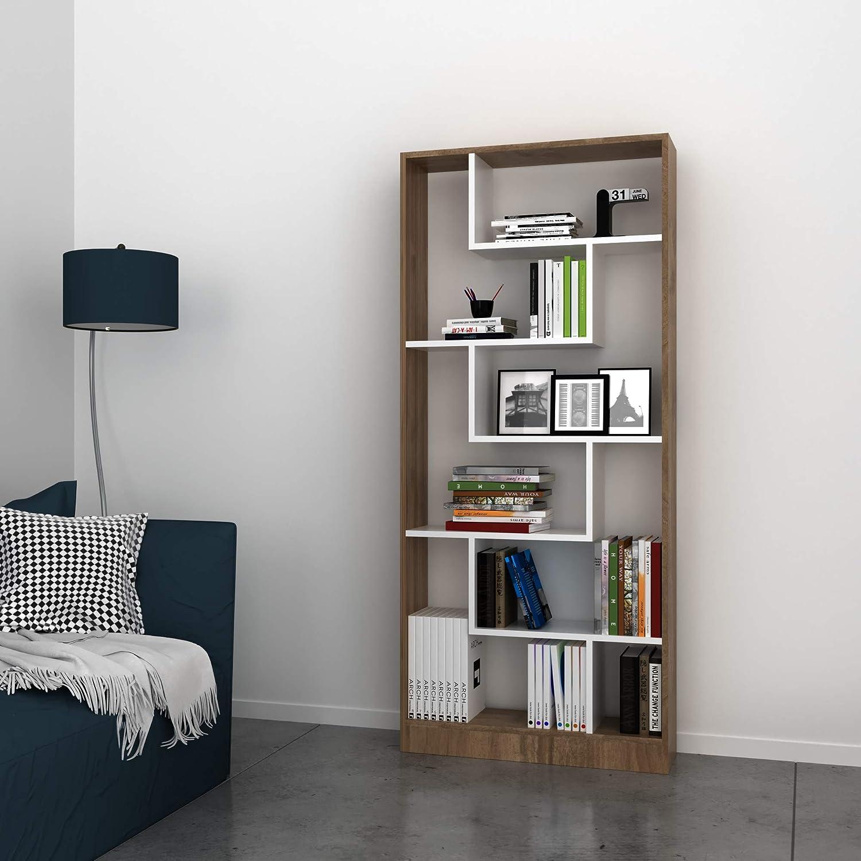 Bravo Home Riga Bookcase (Walnut And White)