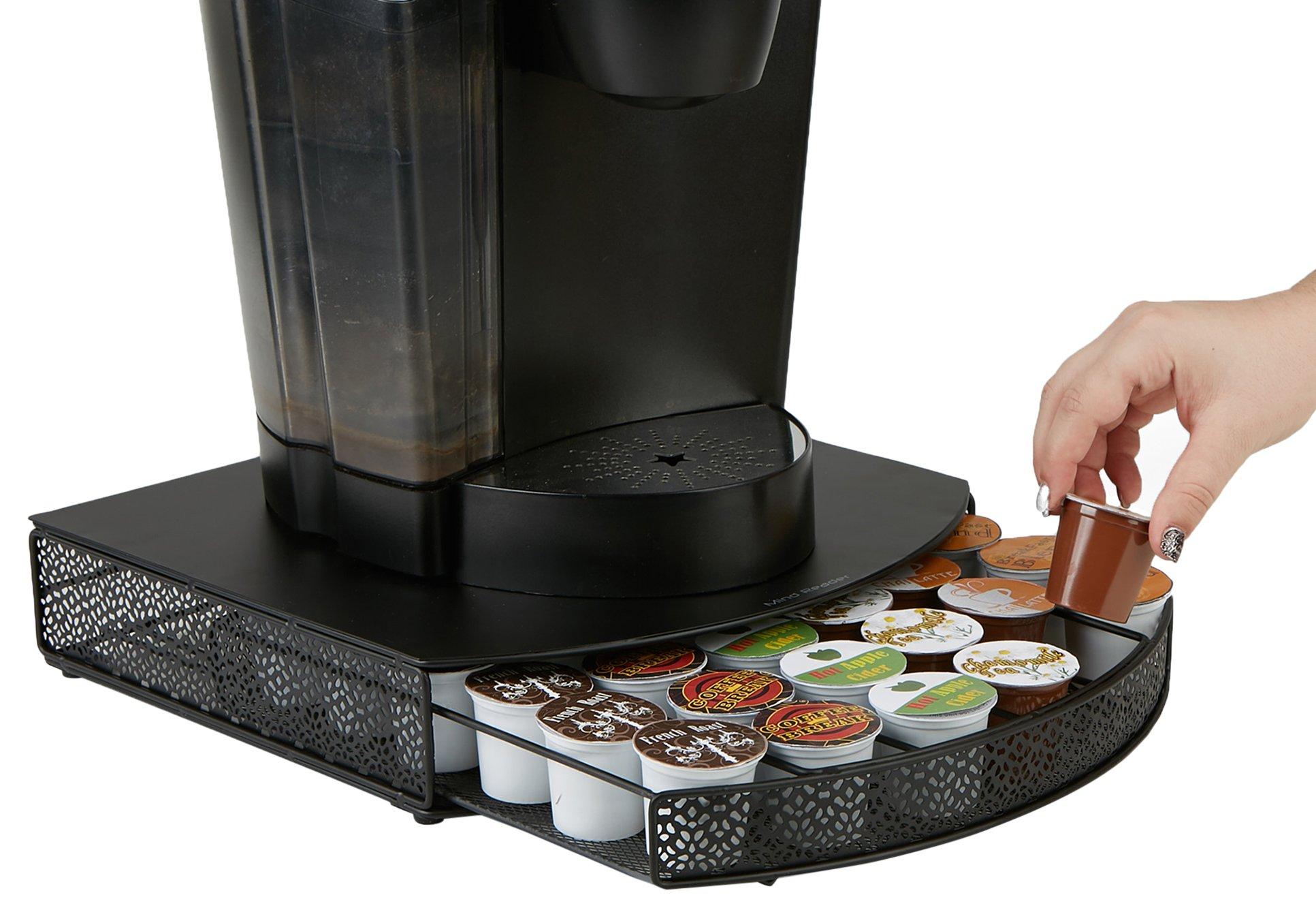 Mind Reader UCUP-BLK Coffee Storage Drawer Pod Holder K, Holds 36 K-Cups, Black Metal Mesh