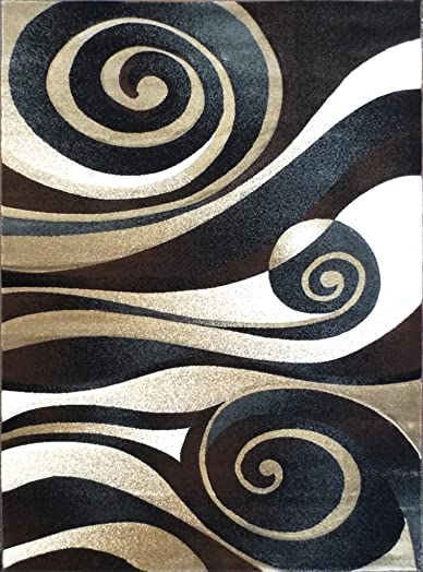 Modern Area Rug, Sculpture 258 Black 5 Feet 2 Inch X 7 Feet 1 Inch