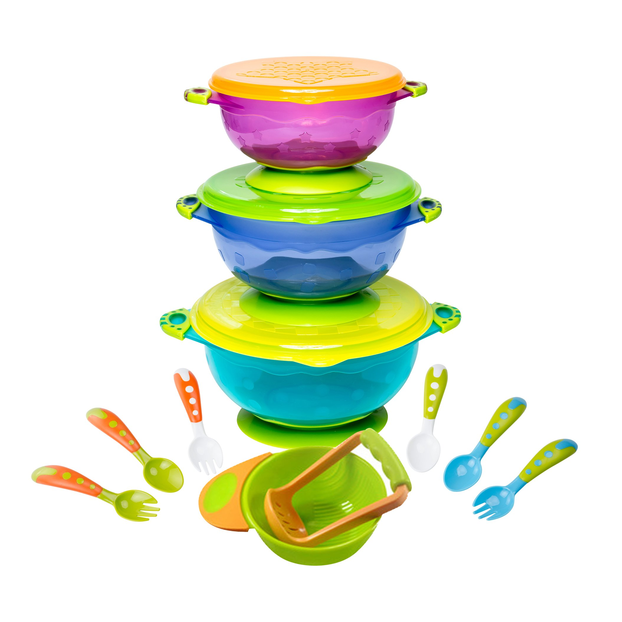 Baby Bowls Feeding Set with Baby Fork and Baby Spoons BPA Free | Toddler Bowls with Baby Food Masher | Suction Baby Bowl for Toddlers with Toddler Utensils |Baby Bowls with Suction | Baby Shower Regis