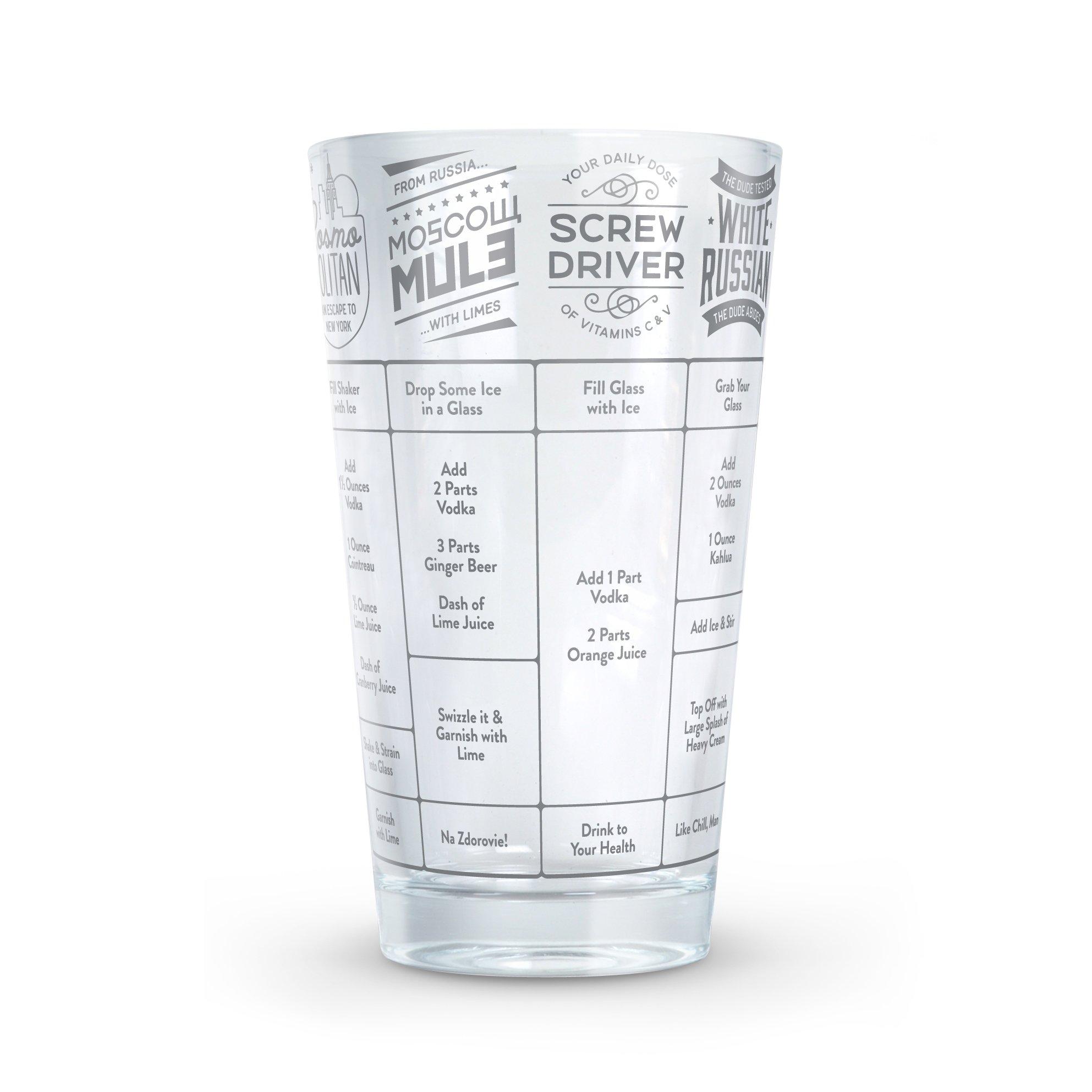 Fred GOOD MEASURE Cocktail Recipe Glass, Vodka  - 5192622