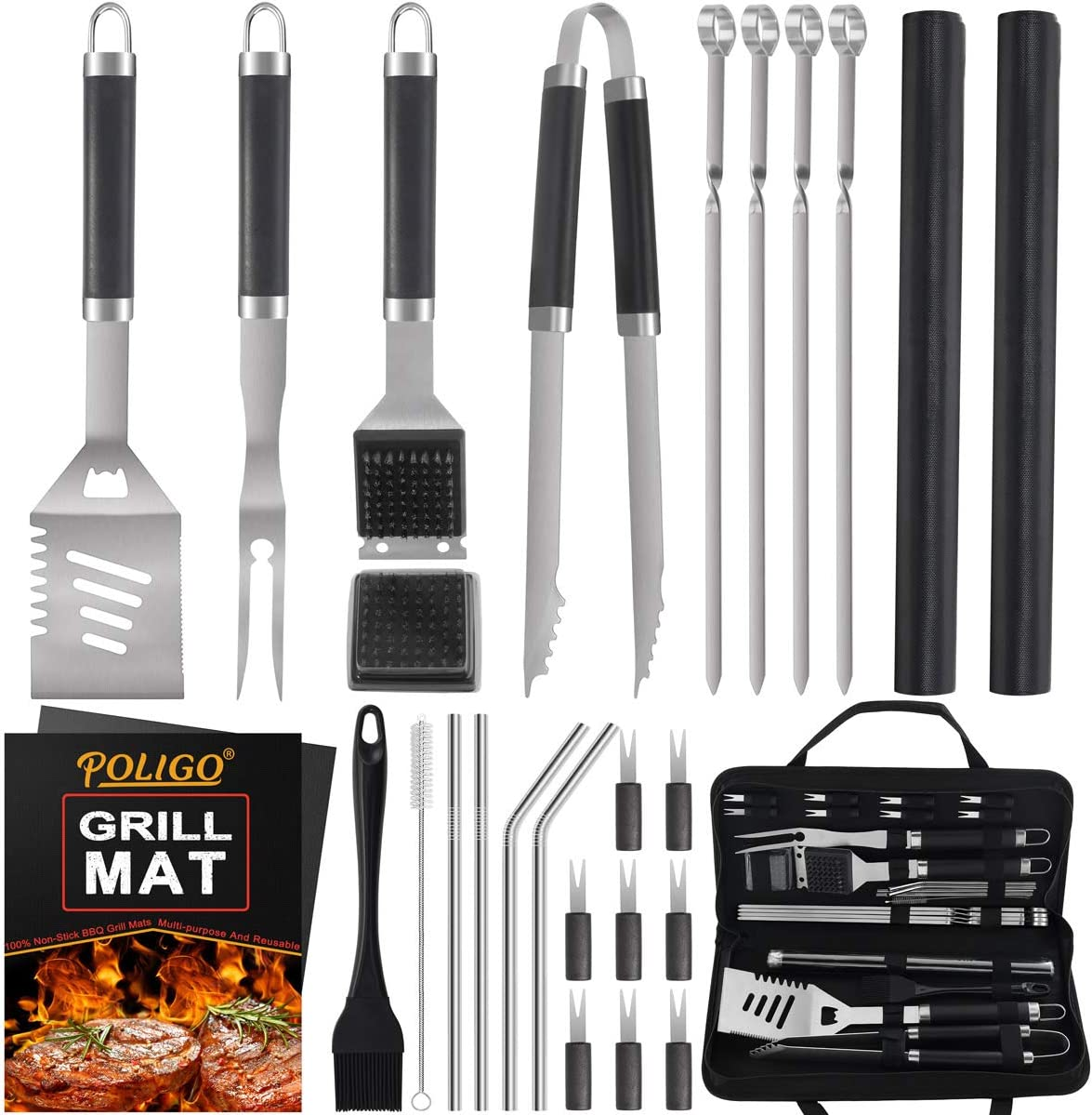 POLIGO 26 PCS BBQ Grill Accessories Stainless Steel BBQ Tools Grilling Tools Set with Storage Bag - Premium Grill Utensils Set for Dads Christmas Birthday Presents Ideal Grilling Gifts for Men Women