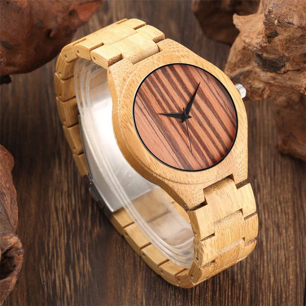ZJQQS Träklocka unik rand urtavla klockor bambu träklockor vardag bambu läderband armbandsur män män klocka presenter Bamboo Band
