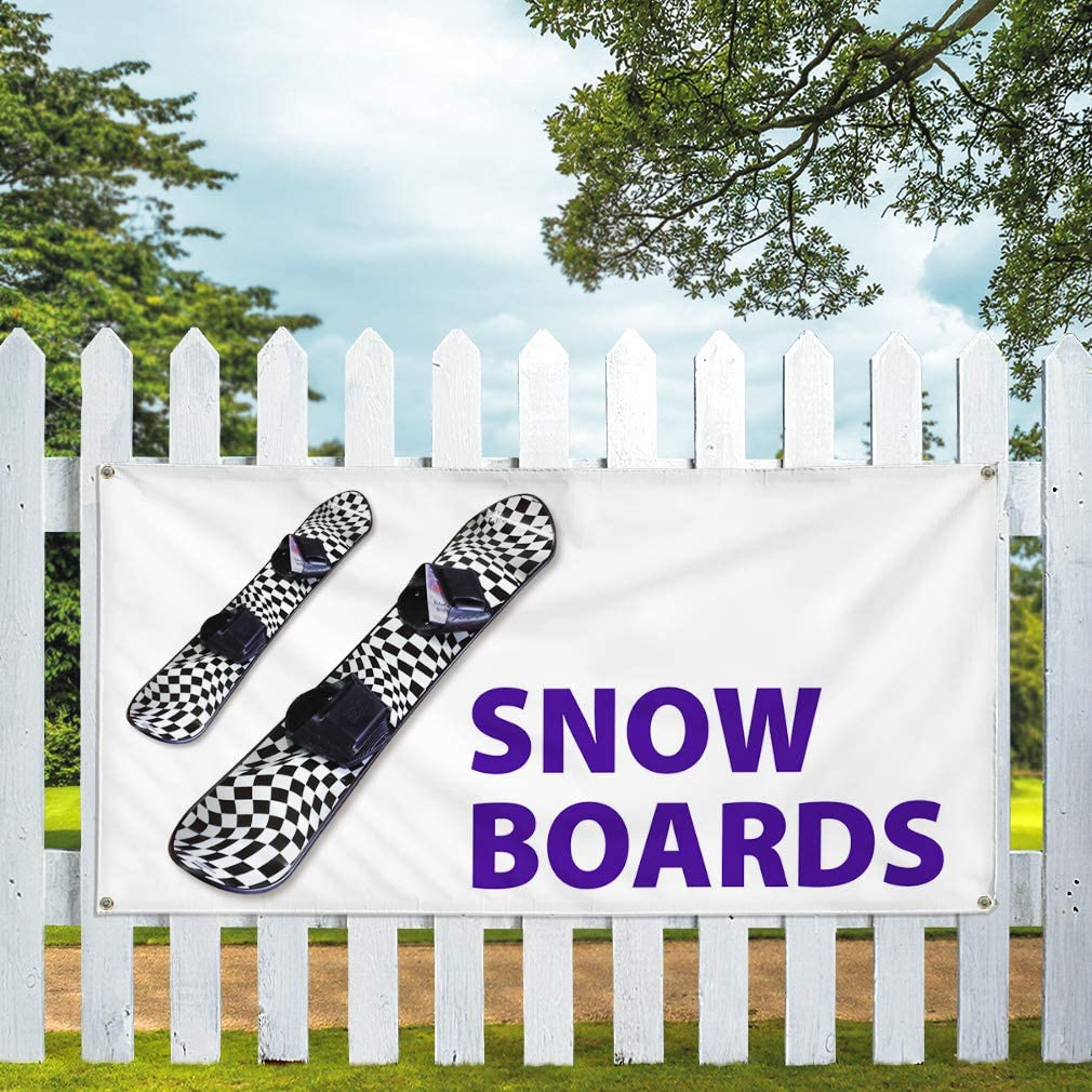 Vinyl Banner Sign Snow Boards Sports Snow Boards Outdoor Marketing Advertising Black 6 Grommets 32inx80in Multiple Sizes Available Set of 2