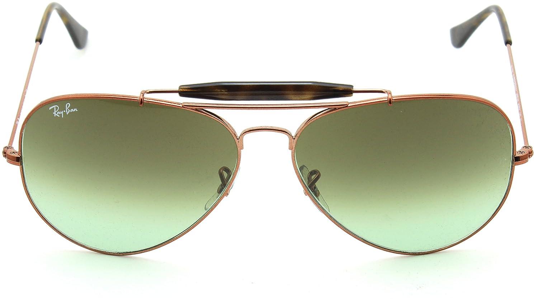 280c9072fb Amazon.com  Ray-Ban RB3029 9002A6 OUTDOORSMAN II Green Gradient Aviator  Sunglasses 62mm  Clothing