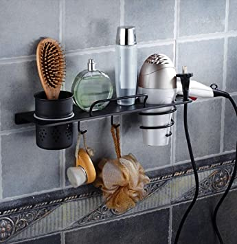 LD&P Soportes para secador de pelo Cobre retro negro baño estantes hogar, secador de pelo