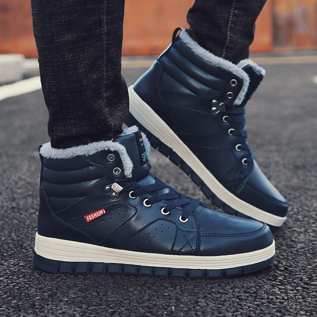 Ceyue Mens Leather Snow Boots Lace up Ankle Sneakers High Top Winter Warm Walking Shoes with Fur Lining(Blue 43) by Ceyue (Image #5)