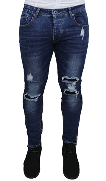 855b9a2b23ee Jeans uomo denim blu scuro pantaloni slim fit in cotone elastico   Amazon.it  Abbigliamento