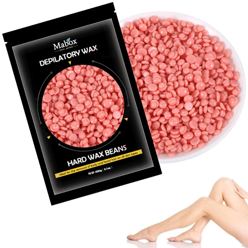 Mumustar Wax Beans Hair Removal Kits 100g Painles Melts Heater Waxing For Body Skin Hair Cleaning Depilatory (Green)