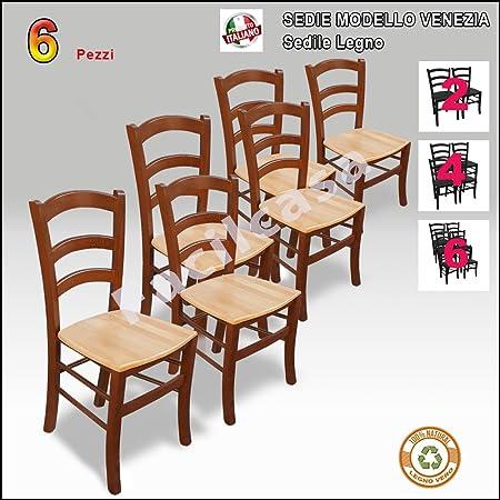 Sedia in Legno di Faggio Venezia Paesana con seduta in Legno Naturale(47x48 h88)