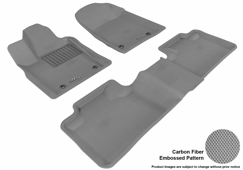 3D MAXpider Complete Set Custom Fit All-Weather Floor Mat for Select Dodge Durango Models Gray L1DG01301501 Kagu Rubber