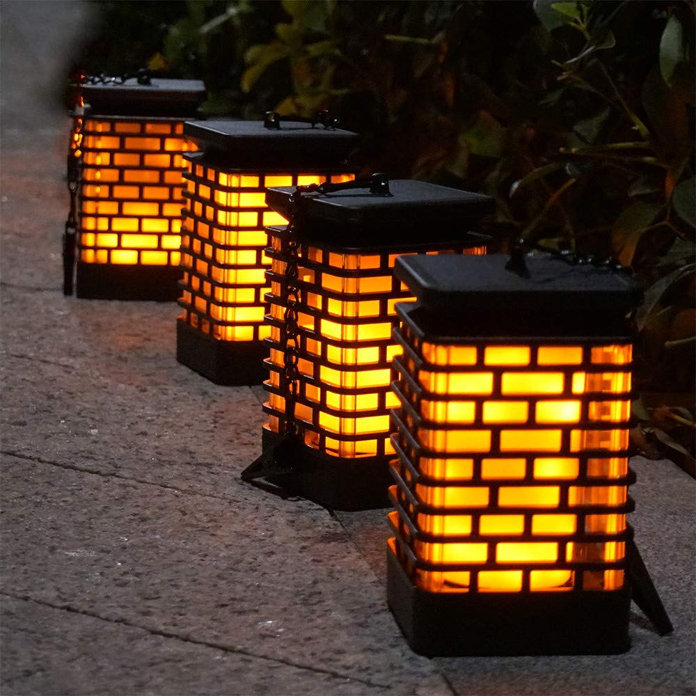 Arzerlize Solar Flame Lights Outdoor Hanging Lanterns Garden Lamp Decoration Flickering Torch Light, Waterproof Landscape Lighting Dusk to Dawn Auto ON/Off Umbrella Pavilion Patio Yard Pathway 4 Pack