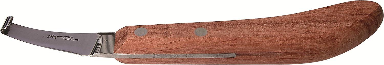 Hauptner & Herberholz 40600000 - Cuchillo para pezuñas (Hoja Ancha, Mango geométrico, para Caballos y Vacas de Fresno)