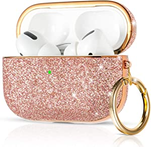 KINGXBAR AirPods Pro Case Cover Cute Bling Glitter Luxury Leather with Gold-Plated Frame Protective Hard Skin Cases with Keychain Accessories for Apple AirPods Pro (2019) Rose Gold for Women Girls