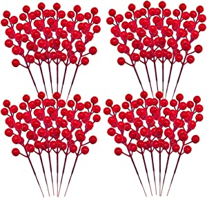 24 Pcs Red Berry Stems,Artificial Holly Berries Picks,Red Berry Branch for Christmas Tree Decor,DIY Crafts,Holiday and Party Decoration,7.9 inch