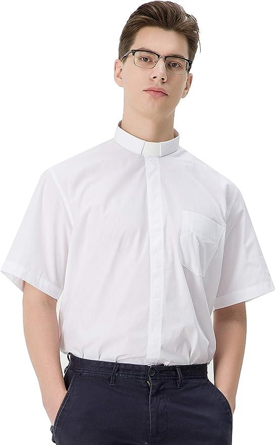 GraduatePro Camisa Clericales Sacerdote Manga Larga Tab Camiseta Clero Hombre Clero Color Sólido: Amazon.es: Ropa y accesorios