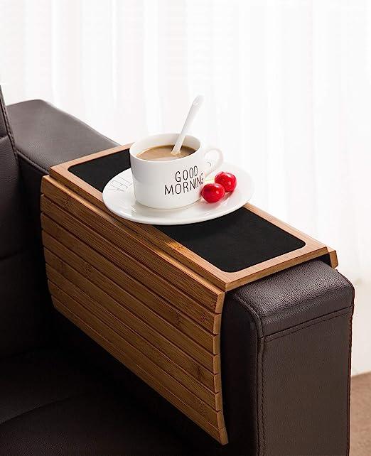 Bandeja de madera de bambú para sofá o sillón, flexible/plegable ...
