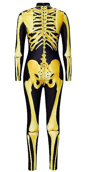 Goodstoworld Disfraz de Halloween Señoras Esqueleto Mono Manga Larga Huesos Esqueleto 3D Gráfico Cremallera Volver Catsuit SL