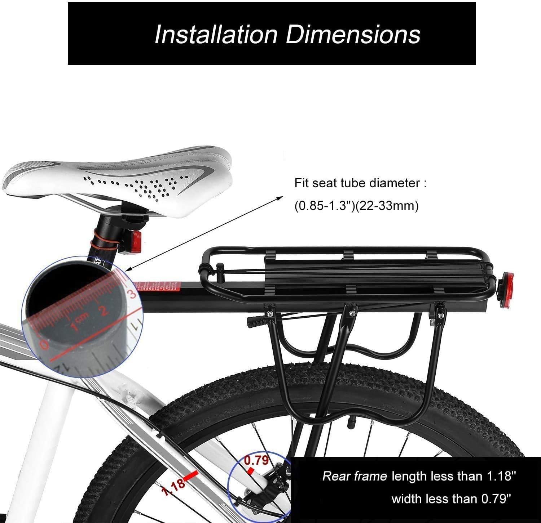 """Universel Vélo Porte Bagage 24/"""" 26/"""" pouces 18 Kg last Réflecteur Support Noir"""