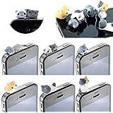 Malloom 6pcs 3.5mm Cheese gato anti del polvo de Gato del auricular del casquillo del tapón del enchufe para iphone HTC