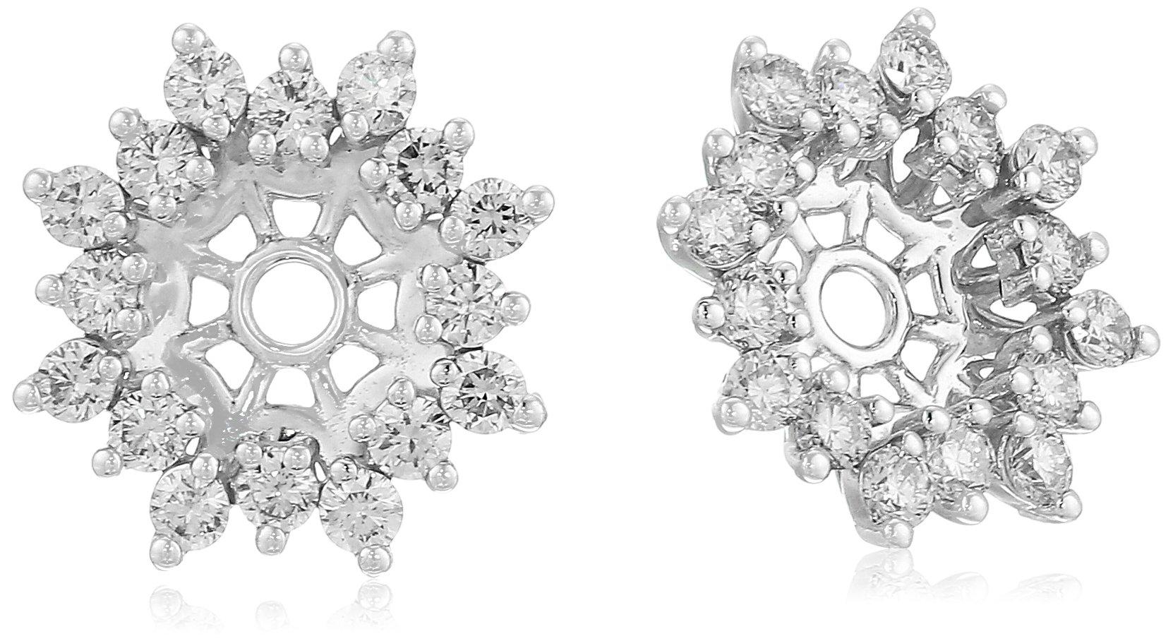 14k White Gold Diamond Starburst Earrings Jackets (3/4 cttw, J-K Color, I2-I3 Clarity)