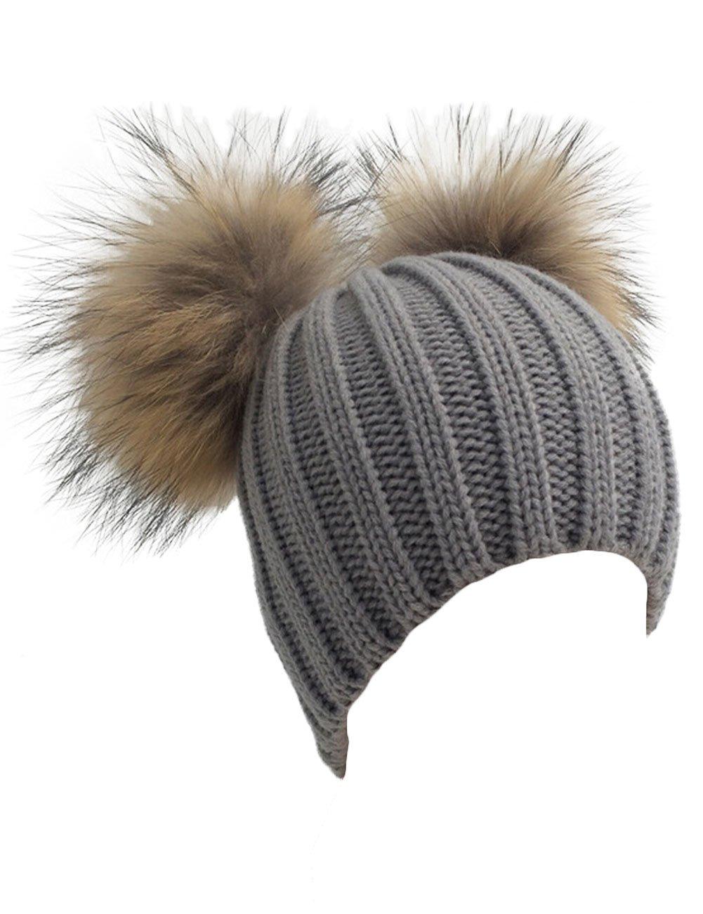 XWDA Women's Knitted Raccoon Fur Double Pom Beanie Hat (Gray)