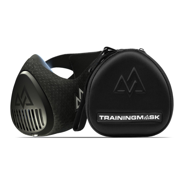 Training Mask 3.0 [All Black] for Performance Fitness, Workout Mask, Running Mask, Breathing Mask, Resistance Mask, Cardio Mask, The Official Training Mask Used by Pros (Black + Case, Medium)