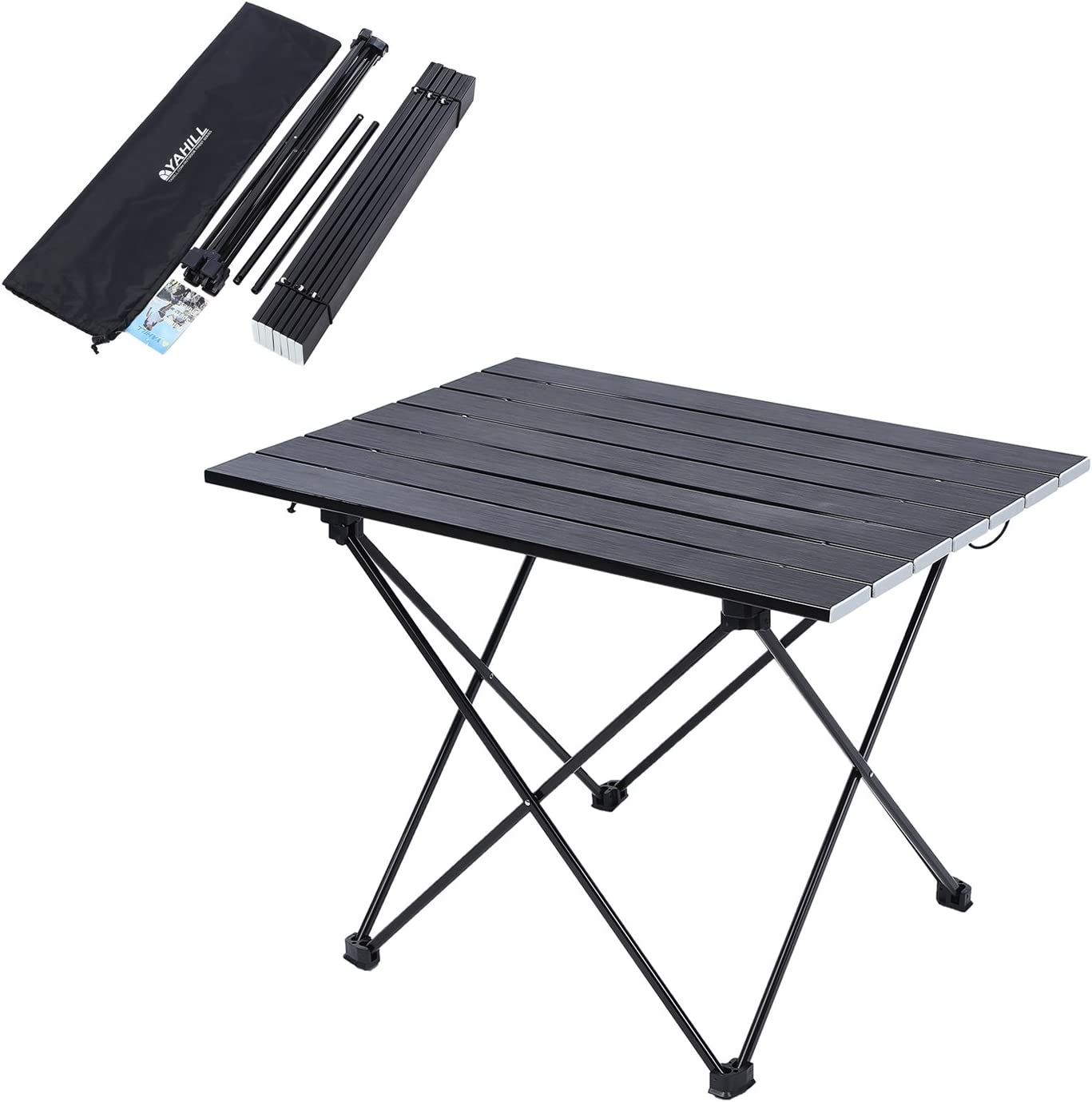 YAHILL Aluminum Folding Collapsible Camping Table Roll up 3 Size with Carrying Bag for Indoor and Outdoor Picnic, BBQ, Beach, Hiking, Travel, Fishing