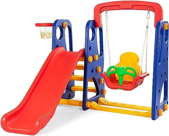 Pink ENHENG 3 in 1 Children Slide Swing Basketball Hoop Home Kids Playground Plastic Slides Set Toy Indoor Outdoor Climbing Family Kindergarten