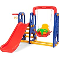 Costzon Toddler Climber and Swing Set, 3 in 1 Climber Slide Playset w/Basketball Hoop, Easy Climb Stairs, Kids Playset for Both Indoors & Backyard(3-in-1 Slide & Swing Set)