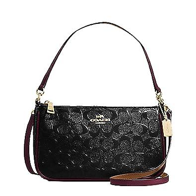 Coach Top Handle Purse in Signature Embossed Patent Leather -  F56518   Handbags  Amazon.com